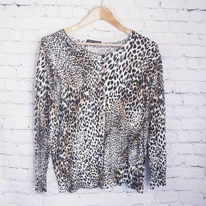 Cable & Gauge Leopard Print Cardigan Sweater Work